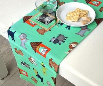 digital print kain pada bahan polyester untuk taplak meja